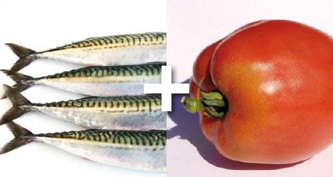 un couple du sud, sardines et poivrons