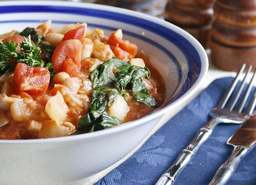 haricots tomate et épinards